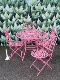 Argos Bistro Table Cast Aluminium Garden Furniture Bistro Set Ornate Pink