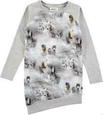 t shirt australian shepherd cindelle pony jersey grey asymmetric dress with horses molo