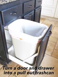 In Cabinet Trash Cans For The Kitchen Turn A Door And A Drawer Into A Pull Out Trash Can