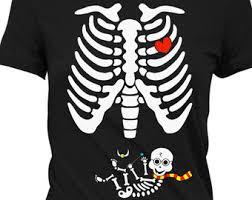 Boys Skeleton Halloween Costume Pregnant Skeleton Shirt Halloween Pregnancy Costume Maternity