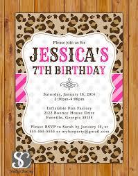 cheetah print party supplies leopard print birthday party invite pink stripes polka dots