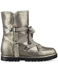 guess boots womens guess s fallon cold weather boots in metallic lyst