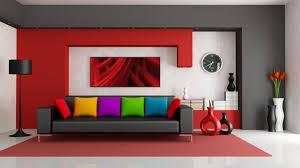 wandgestaltung rot rot wandgestaltung stehle schwarz sofa bunt kissen wände