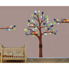 green and shelving stickers tree for nursery or baby room