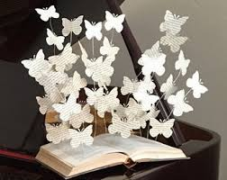 Book Lover Art Paper Butterflies Book Art Sculpture Book