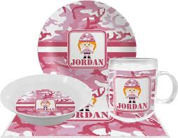 personalized dinner plate pink camo dinner set 4 pc personalized potty concepts