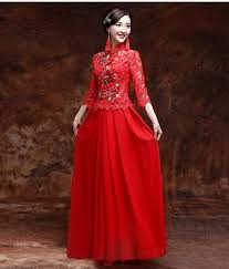 exquisite traditional chinese wedding dress with red lace top