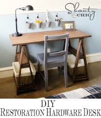 Sawhorse Trestle Desk Restoration Hardware Diy Desk Shanty 2 Chic