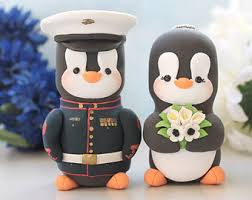 wedding cake toppers military penguin us navy dress blue