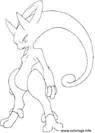Coloriage Pokemon Mega Evolution Y Mewtwo 150 dessin