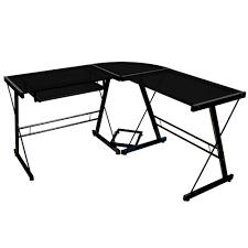 3 piece glass desk walker edison soreno 3 piece l corner desk black with glass ebay