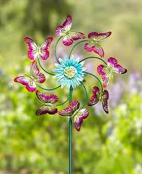 Garden Spinners And Decor Butterfly Sunflower Metallic Garden Spinner Yard Decor For The