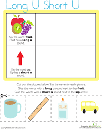 vowel sounds long u short u worksheet education com