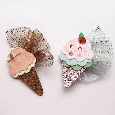felt hair accessories 20pc lot fruit shape modish glitter felt hair clip icecream