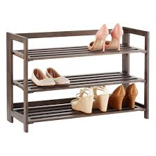 Shoe Rack by 3 Tier Driftwood Folding Shoe Rack The Container Store