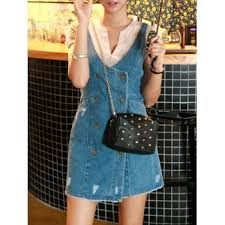 denim pinafore dresses cheap casual style online free shipping at
