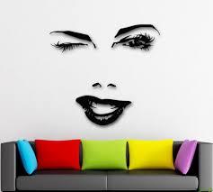 Marilyn Monroe Wall Sticker Wall Stickers Vinyl Decal Beautiful Woman Face Winks Sexy Lips