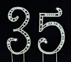 rhinestone number cake toppers 35th birthday wedding anniversary number cake topper large