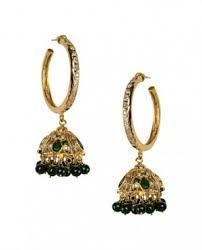 gold jhumka hoop earrings earrings golden beaded hoop jhumka earrings online shopping