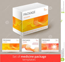 set of medicine package design with 3d template stock vector