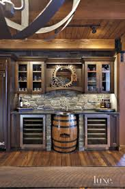 neutral mountain bar area with barrel sink suitable for the man