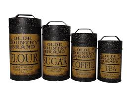 black canisters for kitchen new primitive old country black canister set kitchen flour sugar
