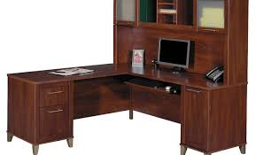 desk l shaped office desk with hutch made of teak wood in brown