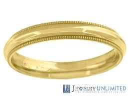 comfort wedding band 10k yellow gold unisex comfort fit milgrain style wedding band