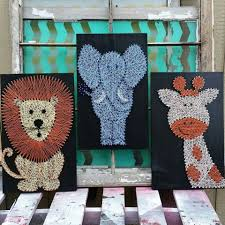 safari nursery decor string art animals nail and string art
