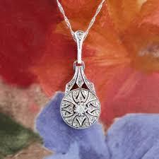 vintage diamond pendant necklace images Art deco 1930 39 s vintage 11ct t w filigree old european cut jpg