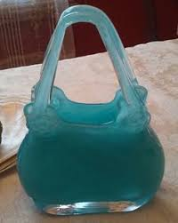Murano Glass Purse Vase Murano Stretched Blue U0026 White Striped Glass Purse Vase Murano