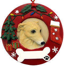 amazon com greyhound christmas ornament fawn and white wreath