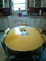 retro yellow kitchen table formica dinette set vintage drop leaf yellow chrome dining table