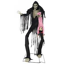 towering animated boogey man with child halloween decoration