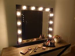 square vanity mirror with lighted frame of mirror with lights