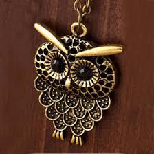 long vintage necklace images Vintage women owl pendant neclace long sweater chain jewelry jpeg