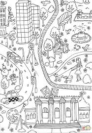 central park and metropolitan museum of art coloring page free