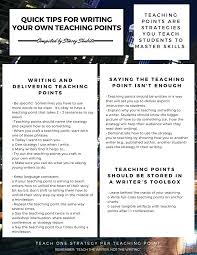 quick tips for writing teaching points two writing teachers