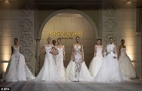 wedding dress makers karolina kurkova models wedding gowns during barcelona bridal week