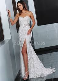 sexxy wedding dresses sweetheart sheath column sweep brush with side slit lace