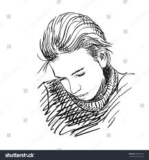 sad beautiful young vector sketch stock vector 508047646