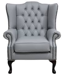Chesterfield Wing Armchair Grey Leather Chesterfield Mallory Wing Chair Designersofas4u
