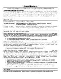 Service Technician Resume Sample Computer Technician Resume Template Resume For Electronics