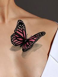 black and pink butterfly on front shoulder