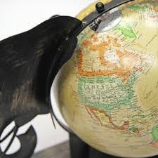 vintage world globe map on stand decorative ornament gift for