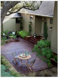 Wood Patio Deck Designs Budget Ground Level Deck Cutout Backyard Privacy Pinterest