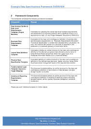 example data specifications and info requirements framework overview
