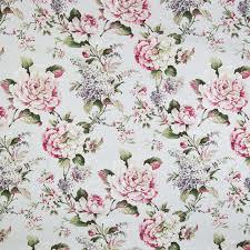 Upholstery Fabric Prints Woodrose Green Pink Floral Print Linen Upholstery Fabric