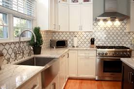 Kitchens With Tile Backsplashes White Macaubas Quartzite Countertops U0026 Calacatta Gold Backsplash