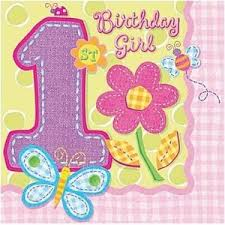 1st birthday girl amscan 16 pack 1st birthday girl 1 today beverage luncheon paper